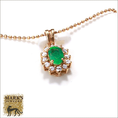 * 04914 Estate 14K Yellow Gold Emerald & Diamond Pendant /w Chain