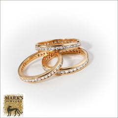 14K Yellow Gold 3 Eternity Single Cut Diamond Bands w/ Florentine Finish, Marks Jewelry