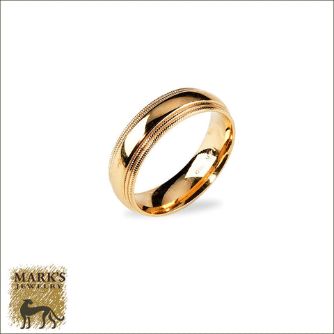 * 05280 14K Yellow Gold Men's comfort fit  Wedding Band