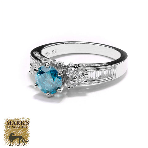 * 05556 / 05852 18K White Gold 1 ct Treated Blue Diamond Ring