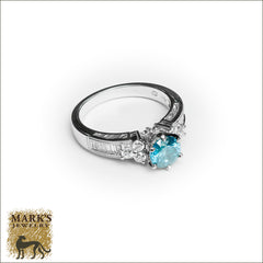 18K White Gold 1 ct Treated Blue Diamond Ring, Marks Jewelry Homewood AL