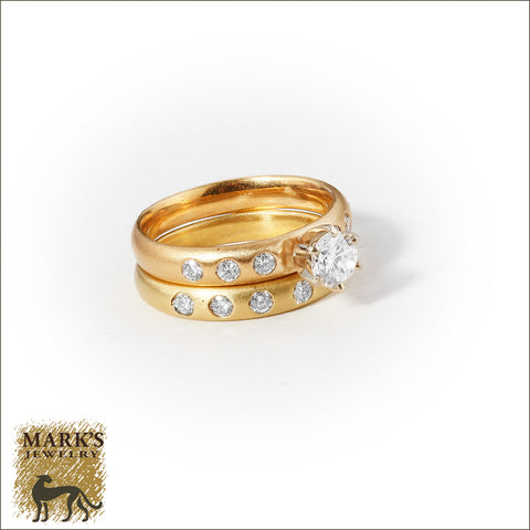 * 05961 18K Yellow Gold ~1 cttw Gypsy Set Diamond Ring Set