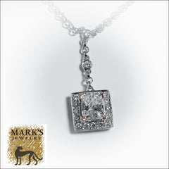 18K White Gold 1.01 ct Princess Cut Diamond Halo Necklace