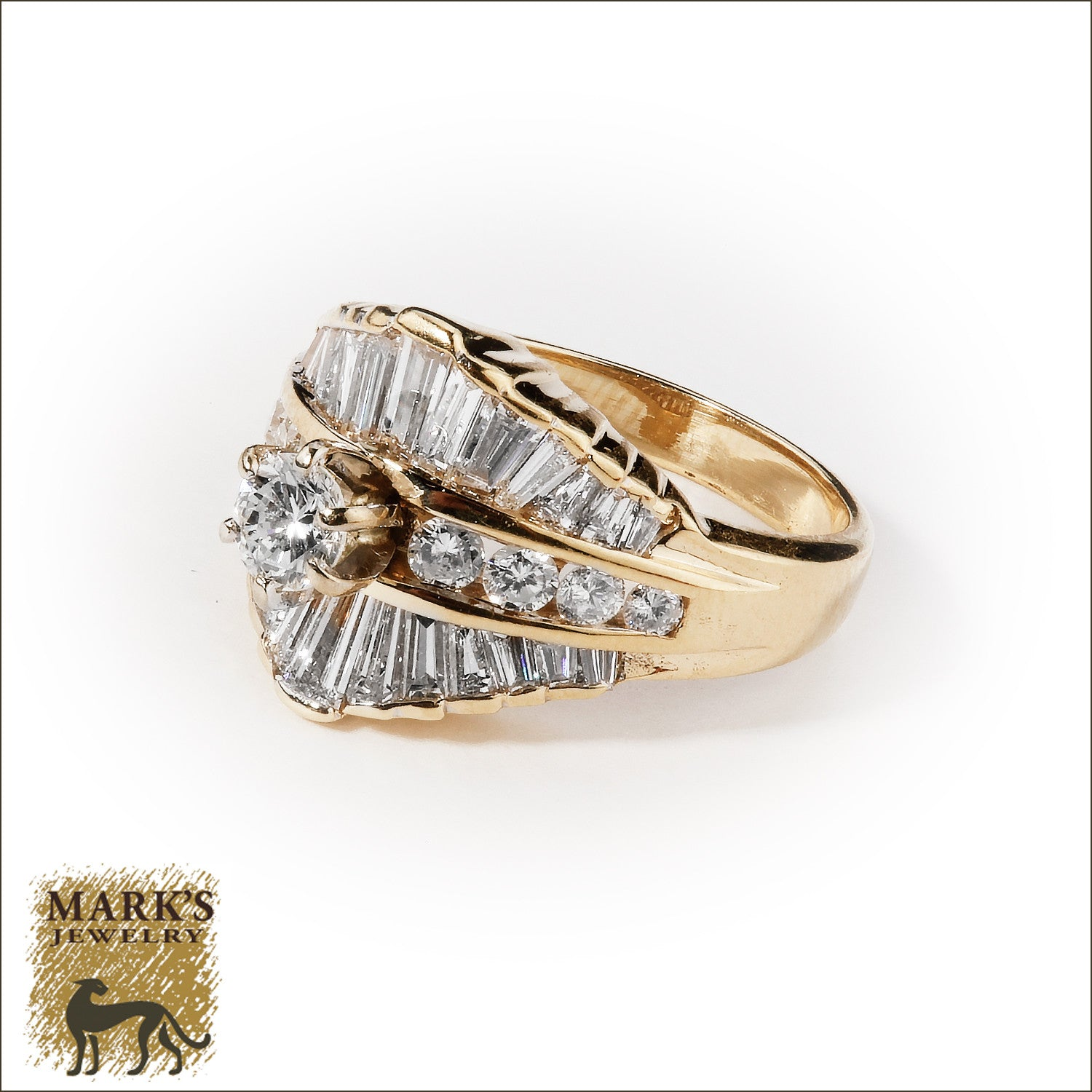 14K Yellow Gold 2 cttw Round Brilliant & Baguette Diamond Ring, Marks Jewelry