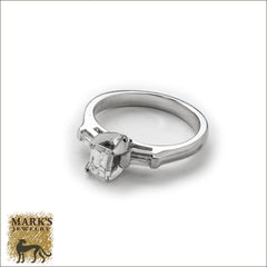 Platinum 0.62 Emerald Cut Diamond Ring