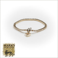 14K Yellow Gold Diamond Bracelet With Diamond Heart Charm