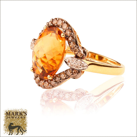 * 06943 18K Yellow Gold 7.04 ct Citrine & Champagne Diamond Ring **Sold**