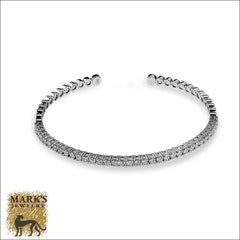 14K White Gold Flex Cuff Bracelet, Marks Jewelry