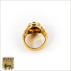 "18K Yellow Gold ""Judth Ripka"" Oval Signet & Diamond Ring, Marks Jewelry"