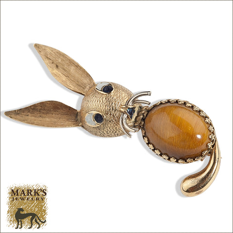 * 07610 Estate 18k yellow gold Rabbit Pin