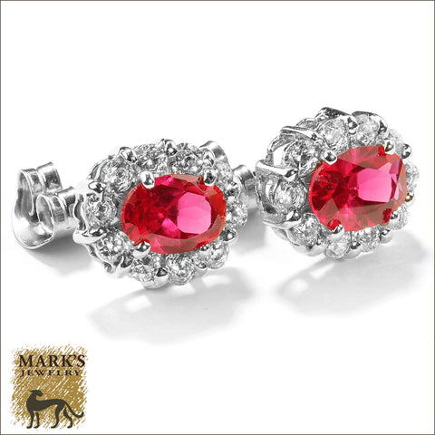 07631 Estate 14K White Gold Synthetic Oval Ruby & CZ's Earrings