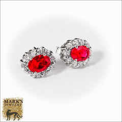 14K White Gold Synthetic Oval Ruby & CZ's Earrings, Marks Jewelry