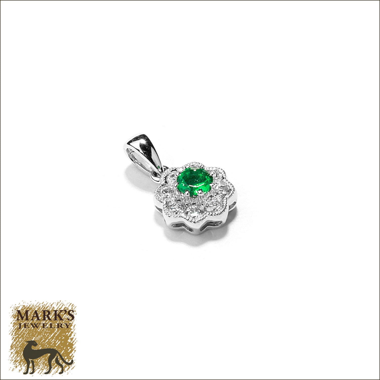 18K White Gold Round Emerald & Diamond Pendant, Marks Jewelry