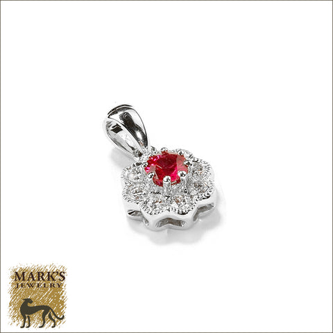 * 07669 18K White Gold Ruby & Diamond Pendant