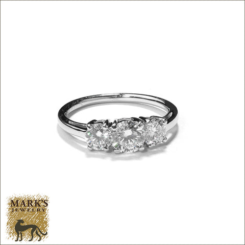 * 07719 Estate Platinum Three Stone  Round Brilliant Diamond Ring