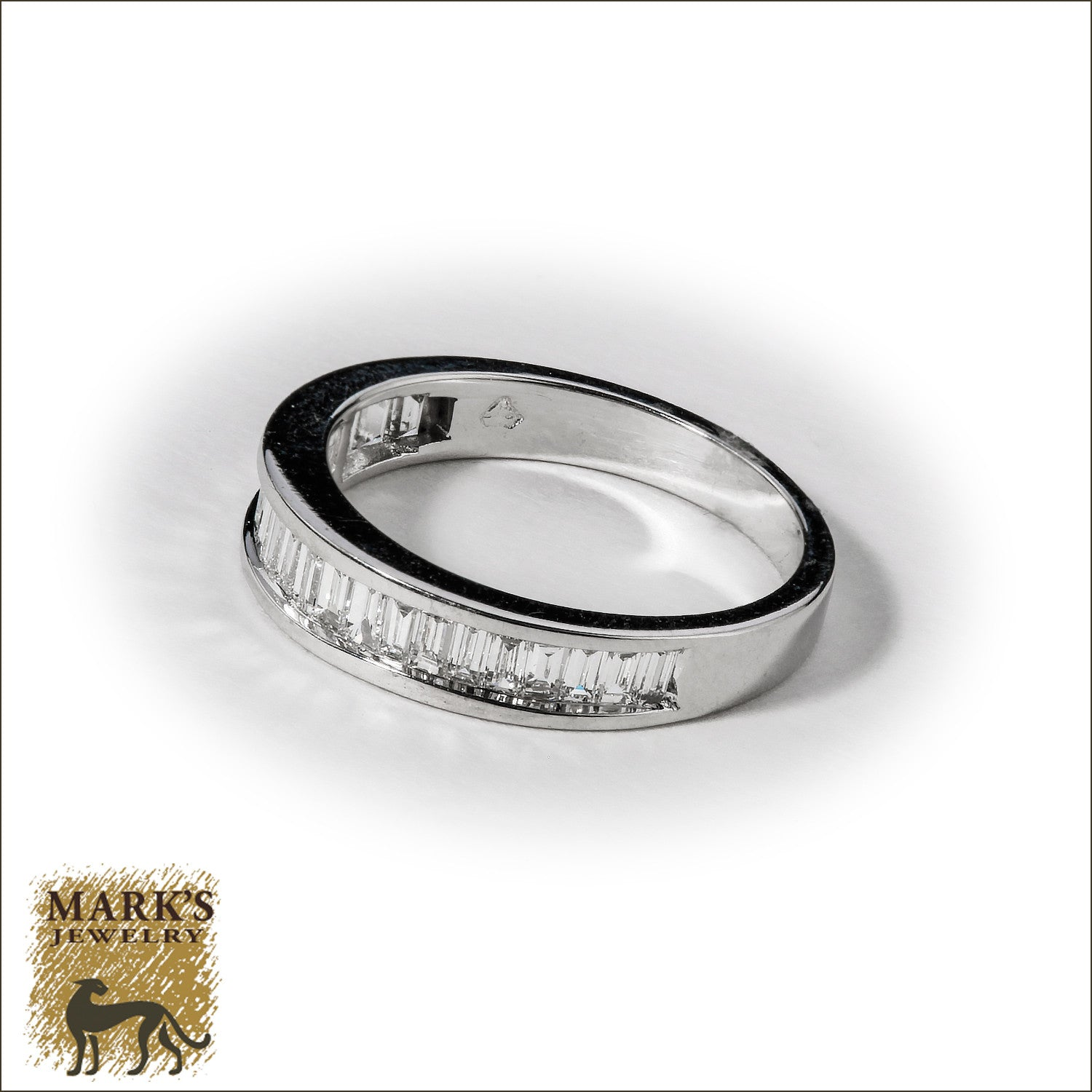14K White Gold Baguette Diamond Band
