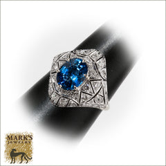 Estate 18K White Gold 3.0 ct Oval Sapphire & Diamond Ring, Marks Jewelry