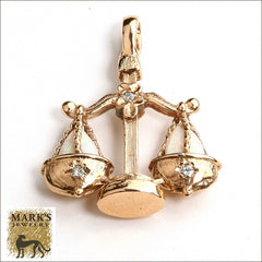 14K Yellow Gold Scale of Justice Pendant, Marks Jewelry Birmingham AL