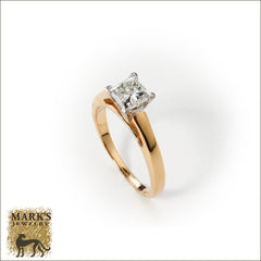 14K Yellow Gold & Platinum 1.09 ct Princess Cut Diamond Ring
