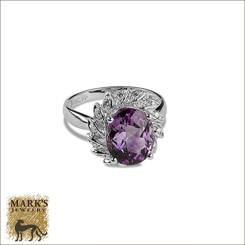 * 07912 Estate 14K White Gold Amethyst & Diamond Ring