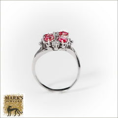 Estate 18K White Gold Oval Rubies & Round Brilliant Diamonds Ring, Marks Jewelry
