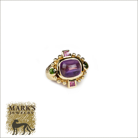 * 08241 18K Yellow Gold Cabochon Amethyst Ring