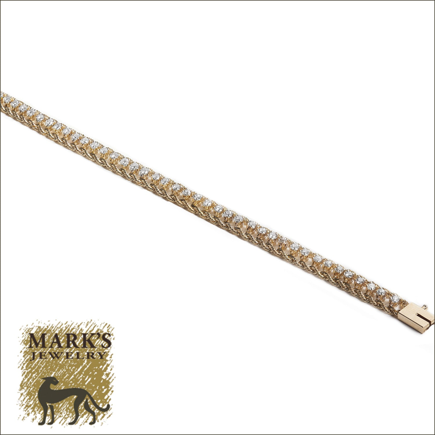 14k Yellow Gold Diamond Rope Bracelet