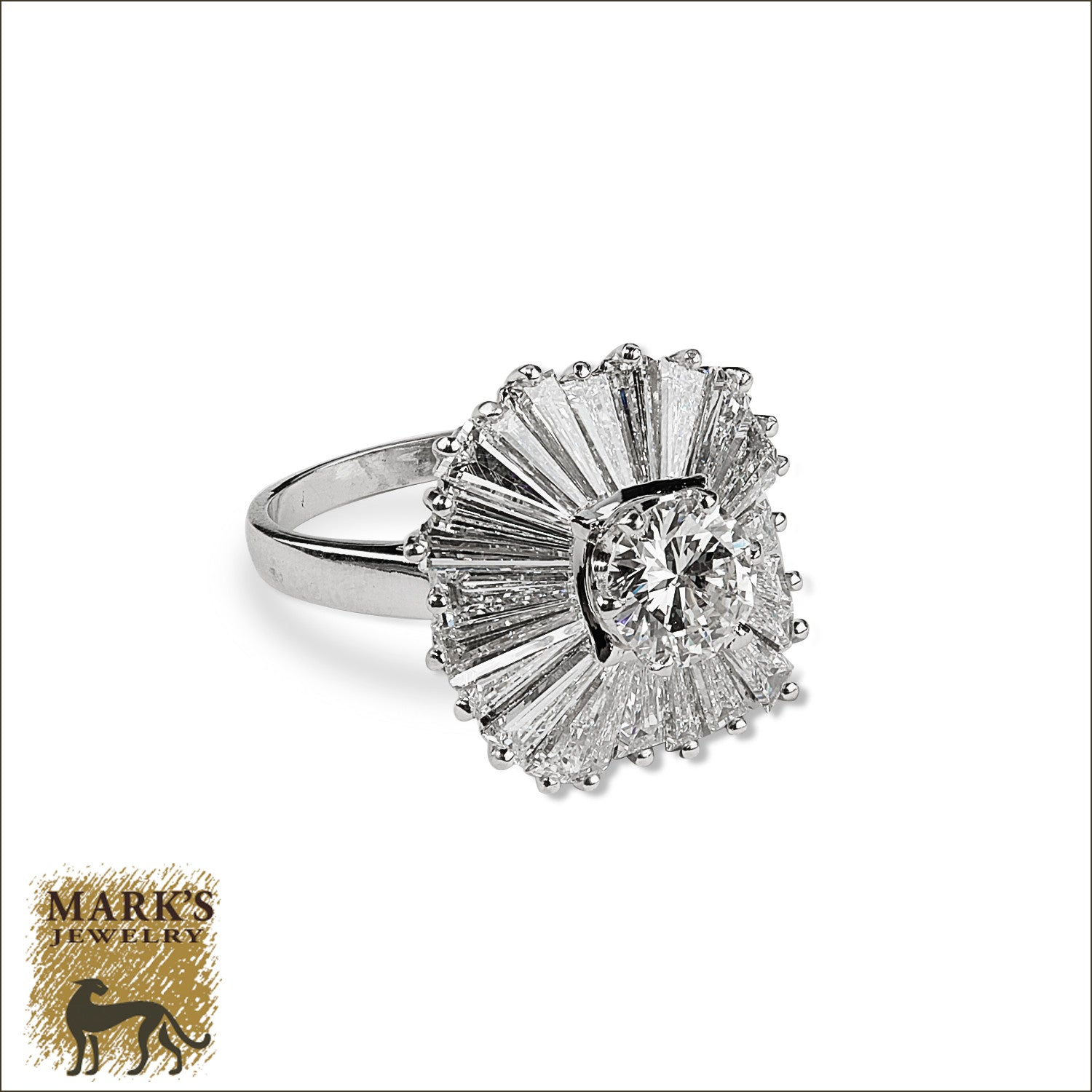 flower a upon ring products estate in platinum with diamond baguettes once