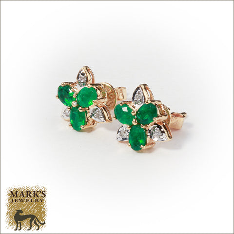 08298 Estate 14K Yellow Gold Emerald & Diamond Earrings