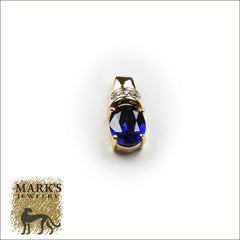 10K Yellow Gold Synthetic Sapphire & Diamond Pendant