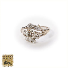 08409 Estate 14K White Gold Diamond Ring, Marks Jewelry
