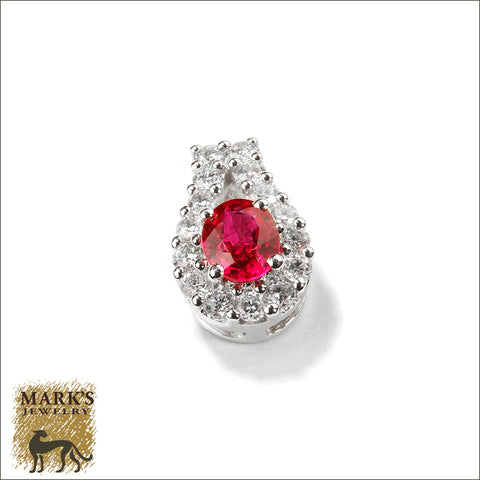 * 08145 18K White Gold Ruby & Diamond Pendant