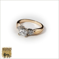 14K Two Tone 0.86 ct Princess Cut Diamond Ring, Marks Jewelry Homewood AL
