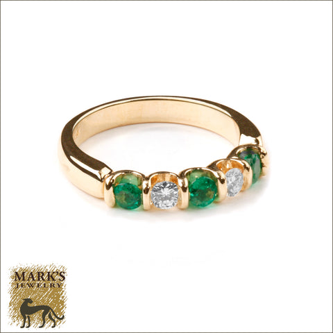 * 08592 Estate 14K Yellow Gold Emerald & Diamond Ring
