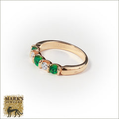 Estate 14K Yellow Gold Emerald & Diamond Ring, Marks Jewelry