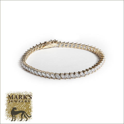 * 08594 14K Yellow Gold Marquise Shaped CZ Tennis Bracelet