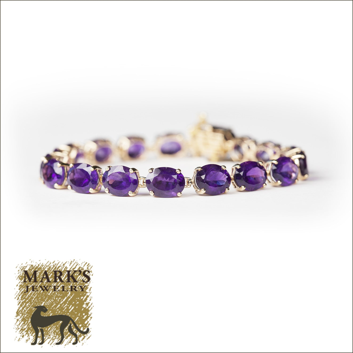 10k Yellow Gold Oval Amethyst Bracelet