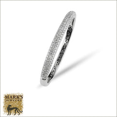 14K White Gold 4.20 cttw Bangle Bracelet, Marks Jewelry