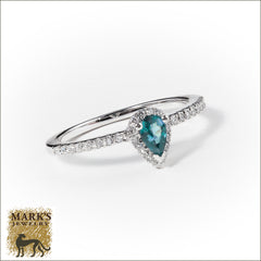 14K White Gold 0.26 ct Pear Shaped Natural Alexandrite & Diamond Ring, Marks Jewelry