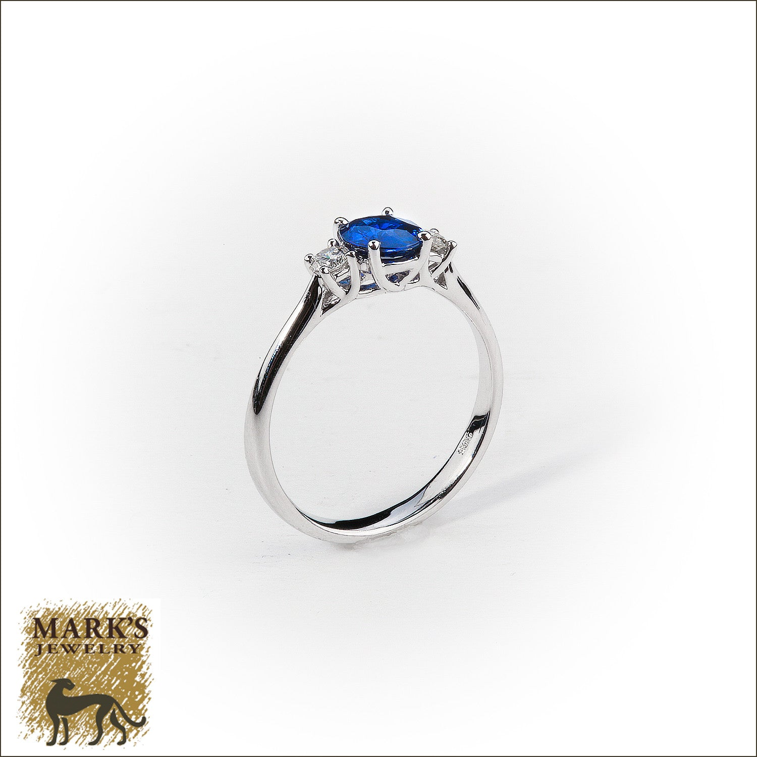 14K White Gold Oval Sapphire & Diamond Ring, Marks Jewelry Birmingham AL