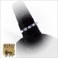 14K White Gold Diamond and Sapphire Alternating Shared Prong Band, .50 cttw Diamonds, .60cttw sapphires