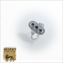 18K White Gold Sapphire & Diamond Ring, 3 sapphires 0.28 cttw, 40 round brilliant diamonds 0.16 cttw