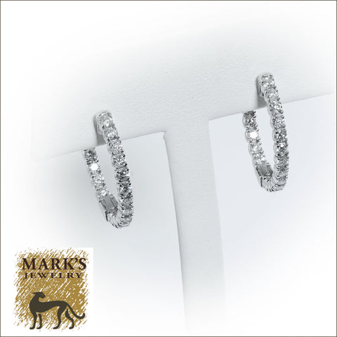 09049 14K White Gold Diamond Inside/Out Round Hoop Earrings