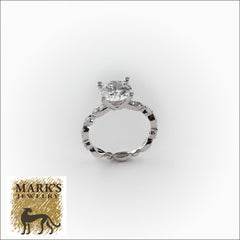 14k White Gold 2ct Diamond Ring , Alternating Round Brilliant and Marquise diamonds in mounting