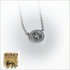 "4K White Gold 17"" Diamond Necklace with Halo"