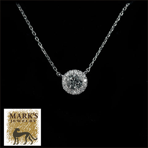 "09054 14K White Gold 17"" Diamond Necklace with Halo"