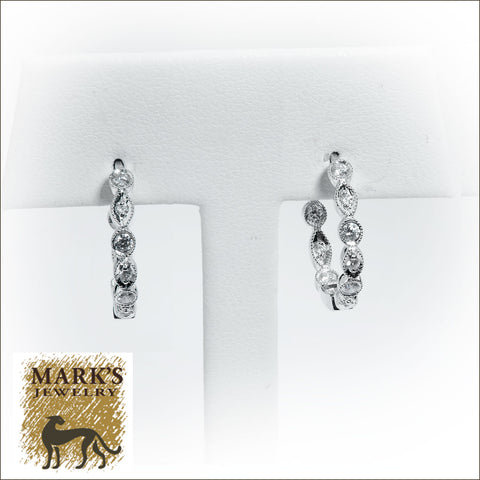 09127 14K White Gold 1/2 cttw Diamond Inside/Out Shaped Metal Hoop Earrings