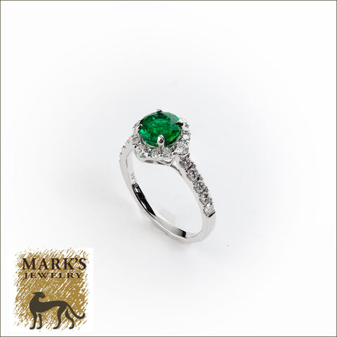 08909 18K White Gold Diamond and Round Emerald Ring