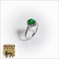 14K White Gold Diamond and Round Emerald Ring, 1.03 ct Round Emerald