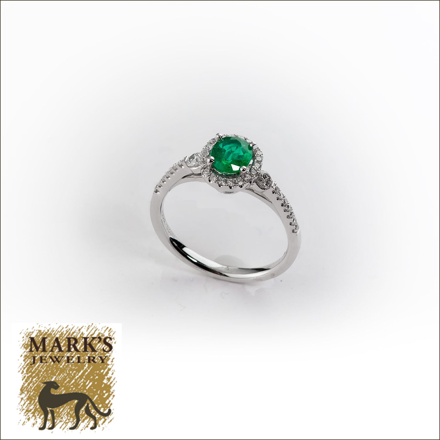 14K White Gold Diamond and Oval Emerald Ring,